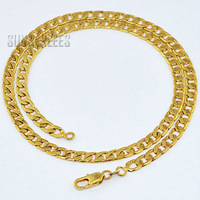 6pcs/lot 5mm Fashion Jewelry 18K Yellow Gold Filled Necklace Curb Cuban Link Chain Men Boys Gold Jewellery Free Shipping GFN17