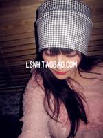 New Fashion Black white plaid cotton hat hair acessories for hair turban elastic headbands crochet headband headbands hair band