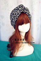 Hotsale beauty hand made wide cotton leopard print turban headband hair accessories elastic headbands for women hair band