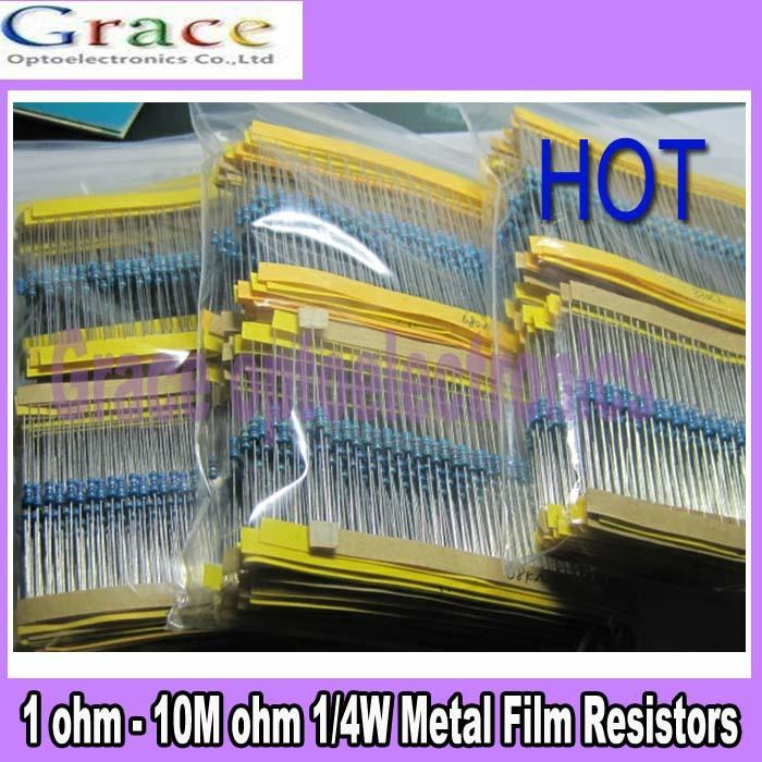 64 values 1280pcs 1 ohm - 10M ohm 1/4W Metal Film Resistors Assortment Kit(China (Mainland))