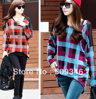 Fashion Spring Autumn Women Ladies Loose Grid Plaid Long Shirts Long Sleeve Round Neck Asymmetric Korea Style Red Blue Free Ship