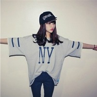 2013 Free shipping new arrival street hippie letter NY t shirt fashion harajuku style loose T-shirt lady summer tops   L225