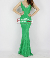 2013 cross lace racerback bride design long evening dress formal dress one-piece dress h0549