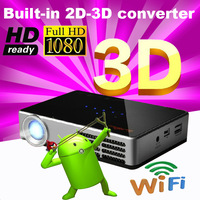 The cheapest Built-2D-3D ready Android 4.2.2 WiFi Full HD Blu Ray 1080P player DLP Pico micro video overhead portable projector