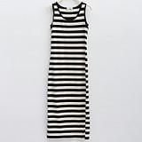 Panda black and white zebra striped dress(China (Mainland))