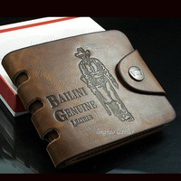 Bailini Vintage Wallet Mens Leather Button Money Wallet Pockets Cards Clutch Cente Bifold Purse Free Shipping 160023