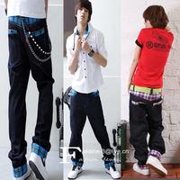 Hip-hop UNISEX saggy plaid pants Straight skateboard loose jeans Casual harem sweatpants baggy  trousers Low Drop Crotch Denim
