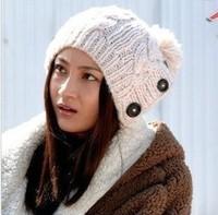 2014 Limited Skullies Gorro Bonnets Beijing Youth Tang Jiao Yao Di with Three Buttons Hemp Flowers Knitting Wool Cap Warm Hat