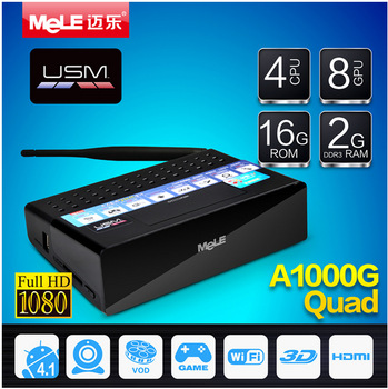 Mele A1000G Quad Core Android TV Box XBMC Mircast Box Media Player Android 4.2 Allwinner A31  2GB RAM 16GB ROM 4K Media Player
