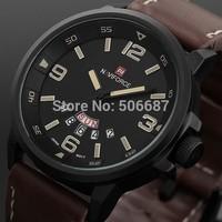 NAVIFORCE Fashion military Vogue Leather 30m Waterproof Date Day Quartz Analog Clock Army Mens sports watch Wrist Watches