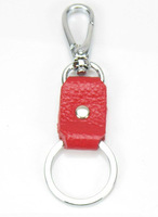 FREE SHIPPING 4PCS Red Leather Keyring Key Chains W/clasp #22874