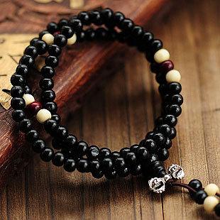 Fashion Natural Ebony 6mm Black Wood Beads 108 Buddha Bracelets Men / Women Long Bangle Religion Gift Wholesale Tibet Jewelery