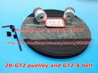2 x Aluminum GT2 Pulley 5 meters GT2 open Belt for 3D printer rostock reprap prusa mendel