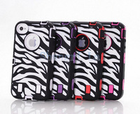 BLACK ZEBRA HIGH IMPACT COMBO HARD RUBBER CASE FOR IPHONE 4 4G 4S drop shipping