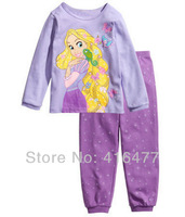 Children girl princess sleepwear kid's 2pcs clothes set kids cotton pajamas baby suits 6sets/lot