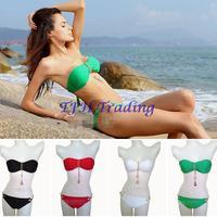 Beach Sexy Women Golden Mental Chain Pendant Sea Anchor Four Leaf Clover Bandeau Bikini Set Padded BOHO Swimwear