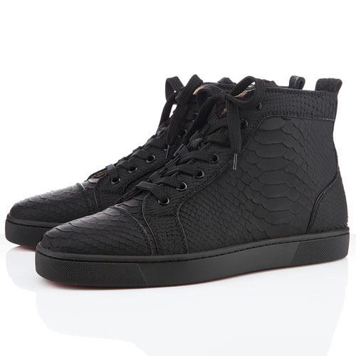 Matt Black Fish Pattern men's high cut shoes(China (Mainland))