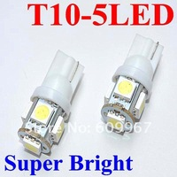 Free Shipping! 10pcs T10 5LED SMD Car Bulb Car Auto LED T10 194 W5W 5050 Wedge Light Bulb Lamp 5SMD White/Green/Blue/Red/Yellow