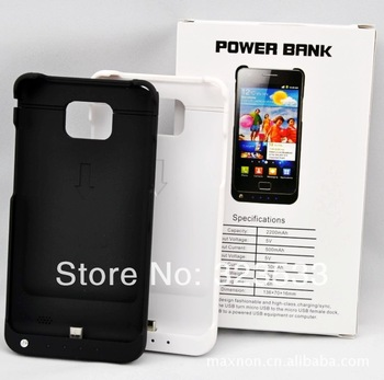 2200 mAh Ultra-Thin Extended Battery Power Pack Case for Samsung Galaxy SII S2 i9100 wholesale dropship 10 pcs/lot free shipping