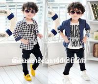 CJ001 Korean style boys fashion blazer kids blazers for spring plaid & blue polka dot casual suit blazers for children in retail
