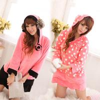 Herfair nightgown patchwork long-sleeve with a hood sweet cute sleepwear young girl coral fleece lounge