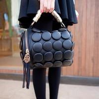 2014 button bucket handbag PU female vintage women's handbag small bag cross-body handbag casual