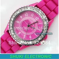 GENEVA Watch Diamond Crystal decoration simple style Plastic strap Luxury brand fashion watch for women