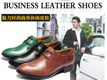 Hot Sale 2013 New Fashion Business Men Genuine Leather Shoes Casual Lace Up Oxfords Formal Office Work Dress Shoes Wearproof