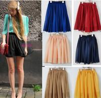Freeshipping black/blue/red/pink/yellow patterns summer cheap short fashion skirt lady chiffon mini skirts womens/women
