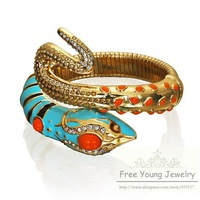 New Hot F&Y FREESHIPPING Anna Dello Russo Blue Rhinestone Snake Bracelet Accessories Fashion Vintage Trendy Whole And Retail