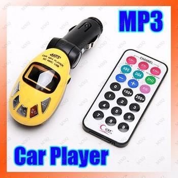 High Quality Foldable Yellow Car Kit MP3 Music Player Wireless FM Radio Transmitter USB SD MMC Card Slot + Remote Free Shipping