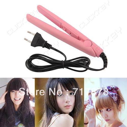 Fashion NEW Pink Ceramic Hair Crimper Mini Perm Splint Hairdressing Tool Salon Crimping Iron Free Shipping(China (Mainland))