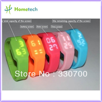 2G 4G 8G 16G 32G usb flash drive multifunctional silicon bracelet LED watch USB with Tf card slot drop shipping free shipping