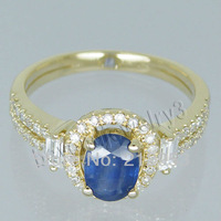 Jewelry Sets Vintage Oval 5x7mm Solid 14Kt Yellow Gold Diamond Sapphire Ring G090795