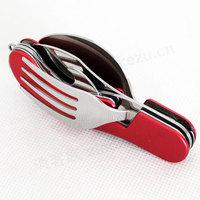 Field camping outdoor multifunctional tableware 6-in-1 triple folding tableware knife fork spoon bottle opener Free shipping