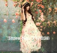 Beach Bohemian condole belt to show thin floral print little fairy since waist chiffon big yards dress dress free shipping