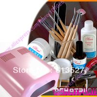 NEW ! Free Shipping - manicure set + 36w Pink Lamp Nail art kit Builder gel