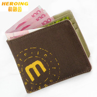 Mad ultra-thin package leather canvas the trend of mini short design small bag card holder