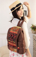 2014 Designer women backpack handmade fashion women casual bags vintage canvas  student printing backpack Free shipping