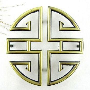 38022 large green Chinese shake handshandle antique metal doorknob symmetry