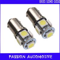 50pcs/lot BA9S T11 5 SMD 5050 Car LED Indicator Light bulbs T4W 1445 Q65B H6W 182 53 57 Free Shipping