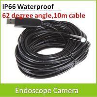 10m Cable IP66 Waterproof 10mm Lens Mini USB Endoscope Camera Inspection Snake Camera Borescope Tube Scope 4 LEDs 640 x 480