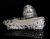 2013 Handmade fashion flat heel crystal shoes rhinestone wedding shoes banquet bridal shoes handmade