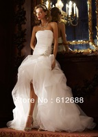 2013 Strapless White Shirred Short Front Long Back Puffy Sweep Train With Appliques Sash Organza Beach Bridal Wedding Dresses
