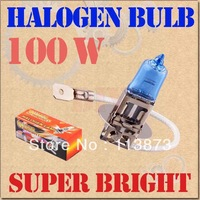DHL/ems free shipping 100pcs H3 Super Bright White Fog Halogen Bulb 100W Car Head Light Lamp External headlight auto parts