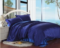 Reactice printing silk bedding set king size home textile solid color luxury blue comforter set bedclothes/bed sheet