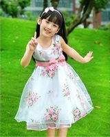 new arrival 4567 8 2013 children's clothing female child summer little girl princess one-piece dress bow Printed floral dresses