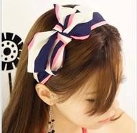 Wholesale  2014 Silk Wide Bow Dot Headbands For Women Hair band Girl's Fashion F068