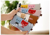 Wholesale 12 pieces/lot Mixed Stripe Canvas Cartoon Cat Stationery Pencil Case Cosmetic Bag Coin Purse Storage Bag