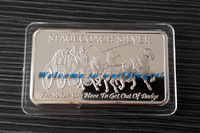 (lucyb0010)2014 New Product  One oz Stagecoach 4 x Quarter Ounce Silver Barr Free Shipping 5 Pcs silver bar without Magnetic